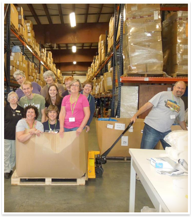 volunteers in warehouse